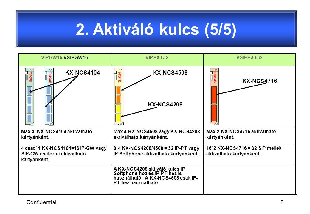 Confidential8 2. Aktiváló kulcs (5/5) 16*2 KX-NCS4716 = 32 SIP mellék aktiválható kártyánként.