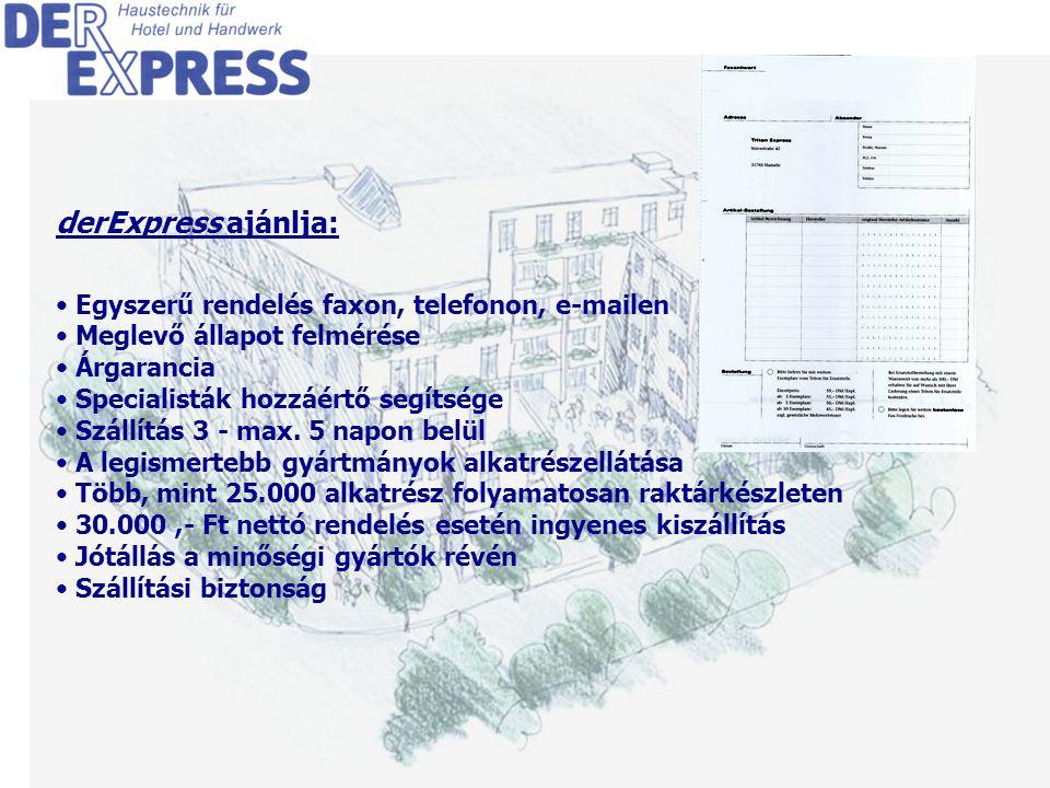 3 derExpress ajánlja: Egyszerű rendelés faxon, telefonon, e-mailen Meglevő állapot felmérése Árgarancia Specialisták hozzáértő segítsége Szállítás 3 - max.