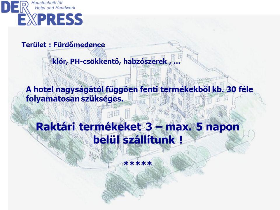 7 Terület : Fürdőmedence klór, PH-csökkentő, habzószerek,...
