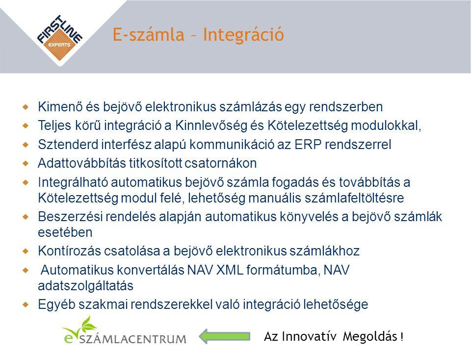 E-számla – Integráció Az Innovatív Megoldás ! Kimenő és bejövő elektronikus számlázás egy rendszerben Teljes körű integráció a Kinnlevőség és Köteleze
