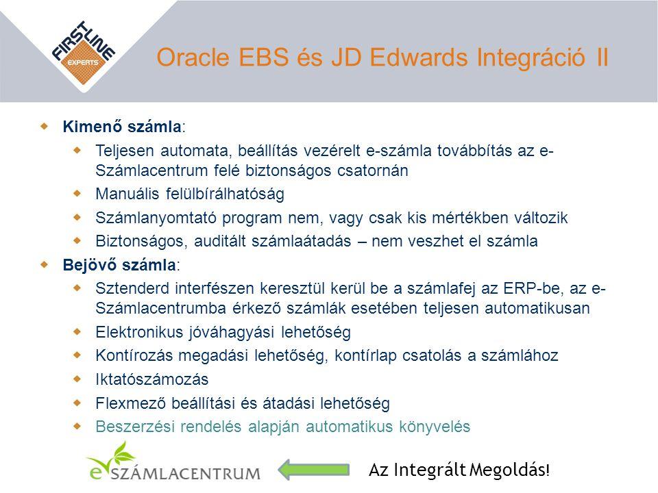 Oracle EBS és JD Edwards Integráció II Kimenő számla: Teljesen automata, beállítás vezérelt e-számla továbbítás az e- Számlacentrum felé biztonságos c