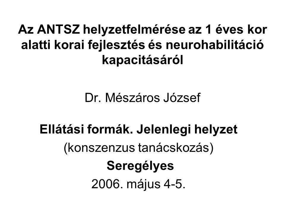 Az ANTSZ helyzetfelmérése az 1 éves kor alatti korai fejlesztés és neurohabilitáció kapacitásáról Dr. Mészáros József Ellátási formák. Jelenlegi helyz