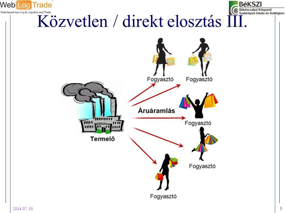 Közvetlen / direkt elosztás III. 2014. 07. 10. 5