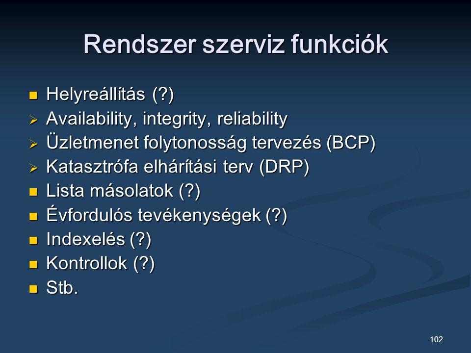 102 Rendszer szerviz funkciók Helyreállítás ( ) Helyreállítás ( )  Availability, integrity, reliability  Üzletmenet folytonosság tervezés (BCP)  Katasztrófa elhárítási terv (DRP) Lista másolatok ( ) Lista másolatok ( ) Évfordulós tevékenységek ( ) Évfordulós tevékenységek ( ) Indexelés ( ) Indexelés ( ) Kontrollok ( ) Kontrollok ( ) Stb.