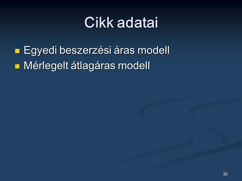 32 Cikk adatai Egyedi beszerzési áras modell Egyedi beszerzési áras modell Mérlegelt átlagáras modell Mérlegelt átlagáras modell