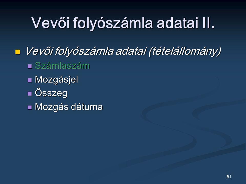 81 Vevői folyószámla adatai II.