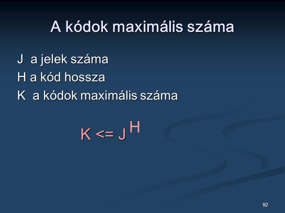 92 A kódok maximális száma J a jelek száma H a kód hossza K a kódok maximális száma K <= J K <= J H