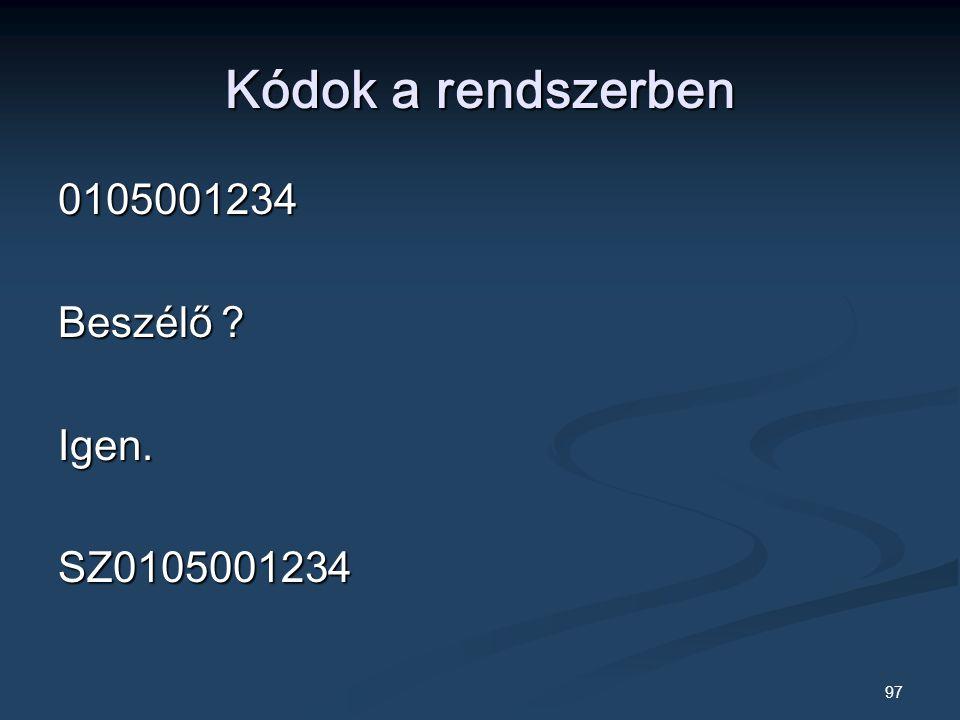 97 Kódok a rendszerben 0105001234 Beszélő Igen.SZ0105001234
