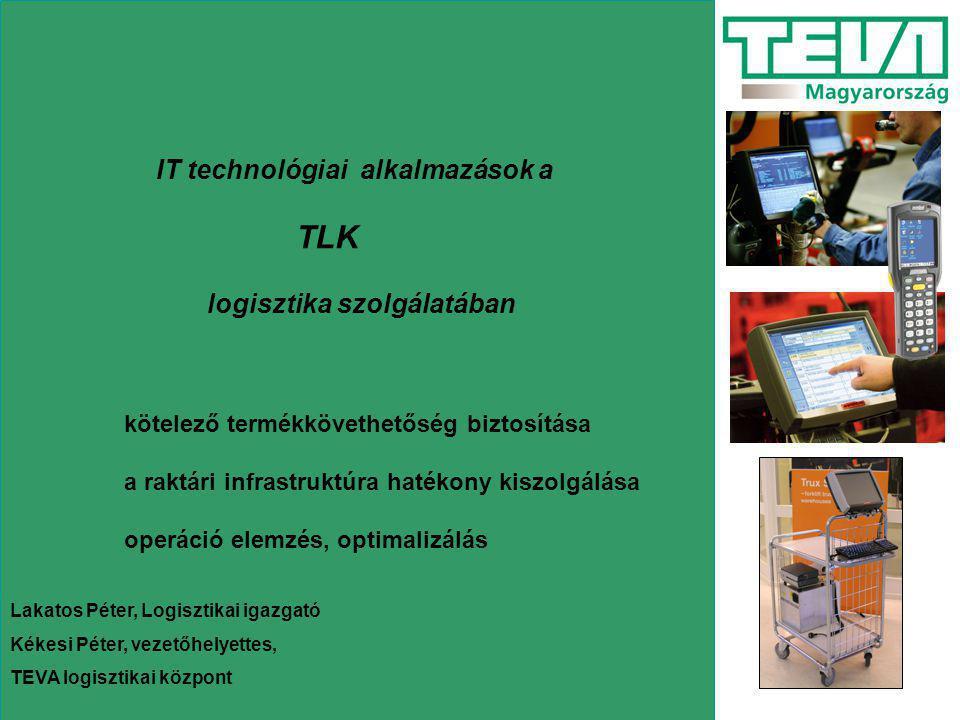 Alkalmazott rendszerek Raktár vezérlő (host) rendszer Pharmalog (Szegedsoft) –Iparági rendszer (nagykereskedelmi, gyártói) –Vezérlés, optimalizálás, ellenörzés, riportálás –UNIX alapú –Text-es felület –MAGIC fejlesztés Komissiózást vezérlő alrendszer PEEM (Schaefer) –Hajtott pályás rendszer vezérlése –Kiszedési szekciók vezérlése (automata, PBL, ML) –Mérlegek kezelése –Kiszállító ládák fedelezése –Túrára rendezés