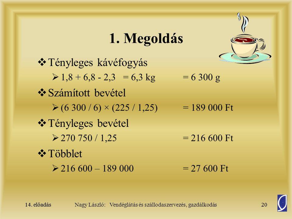 14. előadás20Nagy László: Vendéglátás és szállodaszervezés, gazdálkodás14. előadás20  Tényleges kávéfogyás  1,8 + 6,8 - 2,3 = 6,3 kg = 6 300 g  Szá