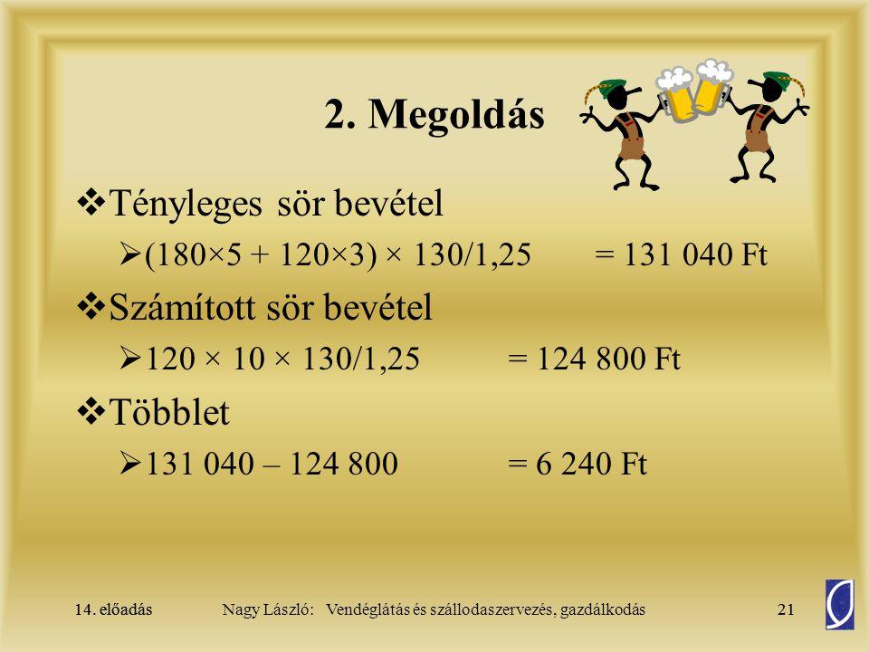 14. előadás21Nagy László: Vendéglátás és szállodaszervezés, gazdálkodás14. előadás21 2. Megoldás  Tényleges sör bevétel  (180×5 + 120×3) × 130/1,25=
