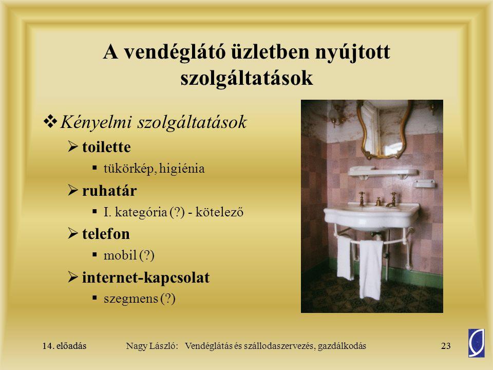14. előadás23Nagy László: Vendéglátás és szállodaszervezés, gazdálkodás14. előadás23 A vendéglátó üzletben nyújtott szolgáltatások  Kényelmi szolgált