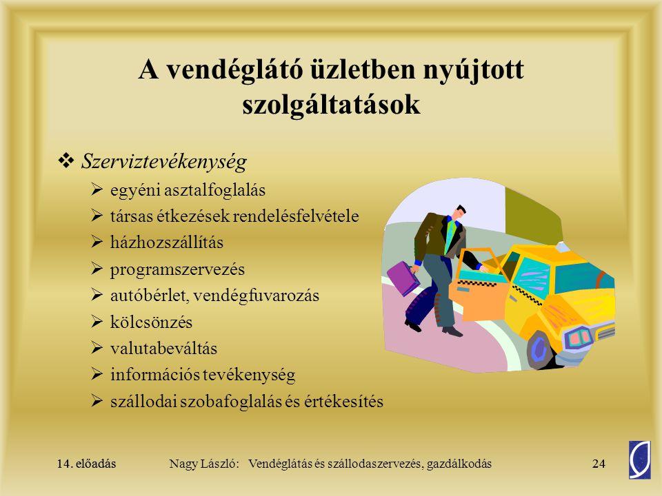 14. előadás24Nagy László: Vendéglátás és szállodaszervezés, gazdálkodás14. előadás24 A vendéglátó üzletben nyújtott szolgáltatások  Szerviztevékenysé