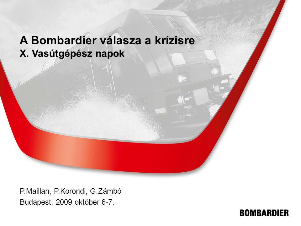 A Bombardier válasza a krízisre X. Vasútgépész napok P.Maillan, P.Korondi, G.Zámbó Budapest, 2009 október 6-7.