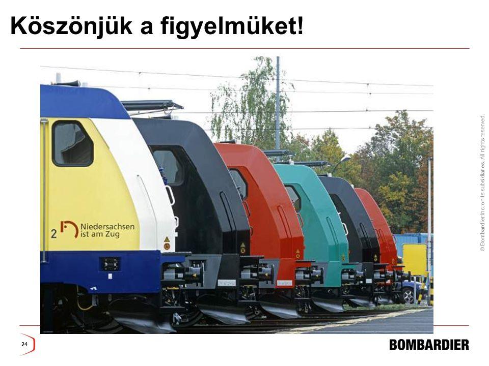 © Bombardier Inc. or its subsidiaries. All rights reserved. 24 Köszönjük a figyelmüket!