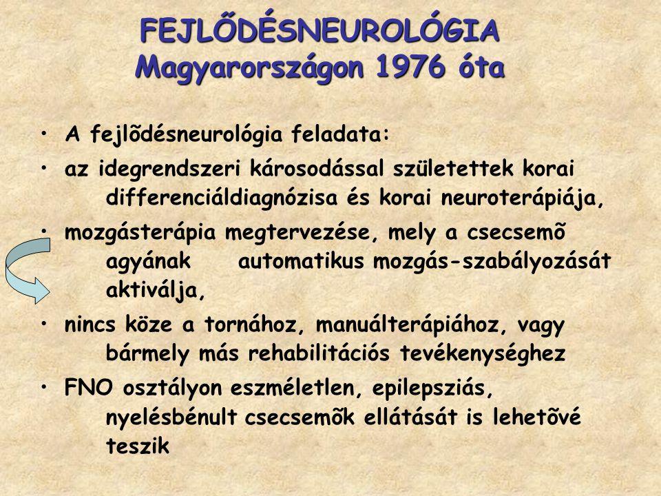 FEJLŐDÉSNEUROLÓGIA Magyarországon 1976 óta A fejlõdésneurológia feladata: az idegrendszeri károsodással születettek korai differenciáldiagnózisa és ko