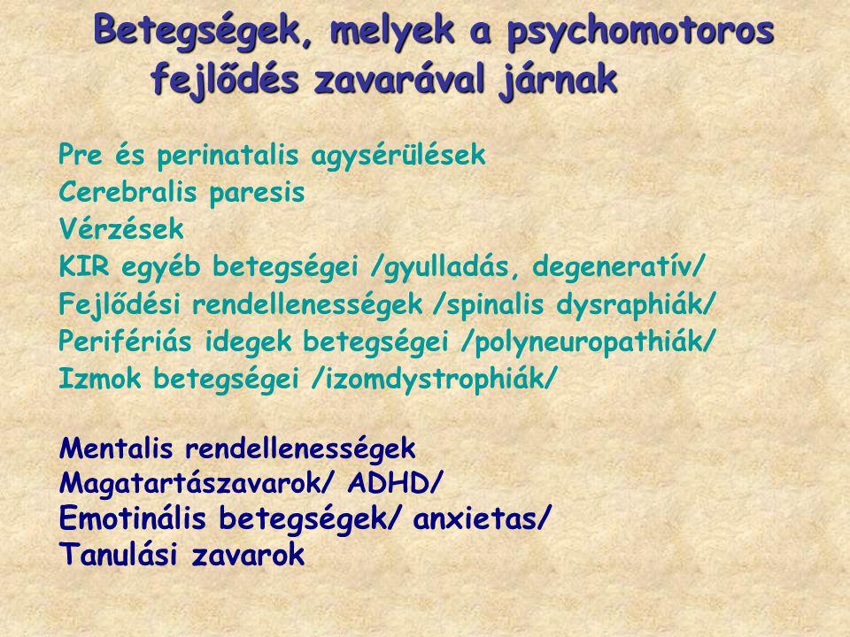 Pre és perinatalis agysérülések Cerebralis paresis Vérzések KIR egyéb betegségei /gyulladás, degeneratív/ Fejlődési rendellenességek /spinalis dysraph