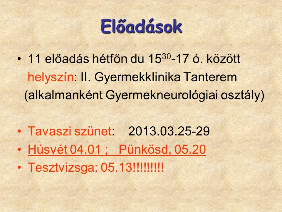 Előadások 11 előadás hétfőn du 15 30 -17 ó. között helyszín: II. Gyermekklinika Tanterem (alkalmanként Gyermekneurológiai osztály) Tavaszi szünet: 201