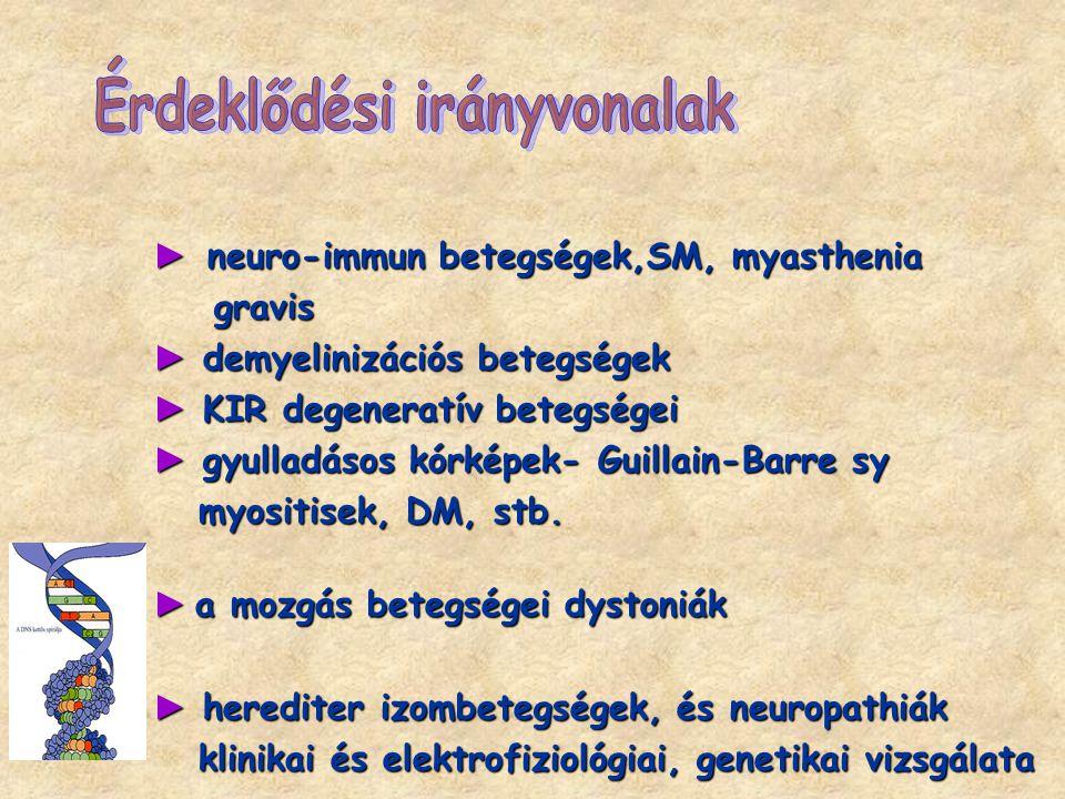 ► neuro-immun betegségek,SM, myasthenia gravis gravis ► demyelinizációs betegségek ► KIR degeneratív betegségei ► gyulladásos kórképek- Guillain-Barre