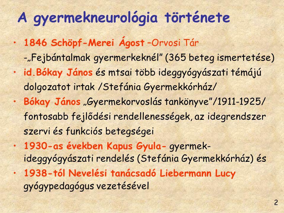 """A gyermekneurológia története 1846 Schöpf-Merei Ágost –Orvosi Tár -""""Fejbántalmak gyermerkeknél"""" (365 beteg ismertetése) id.Bókay János és mtsai több i"""