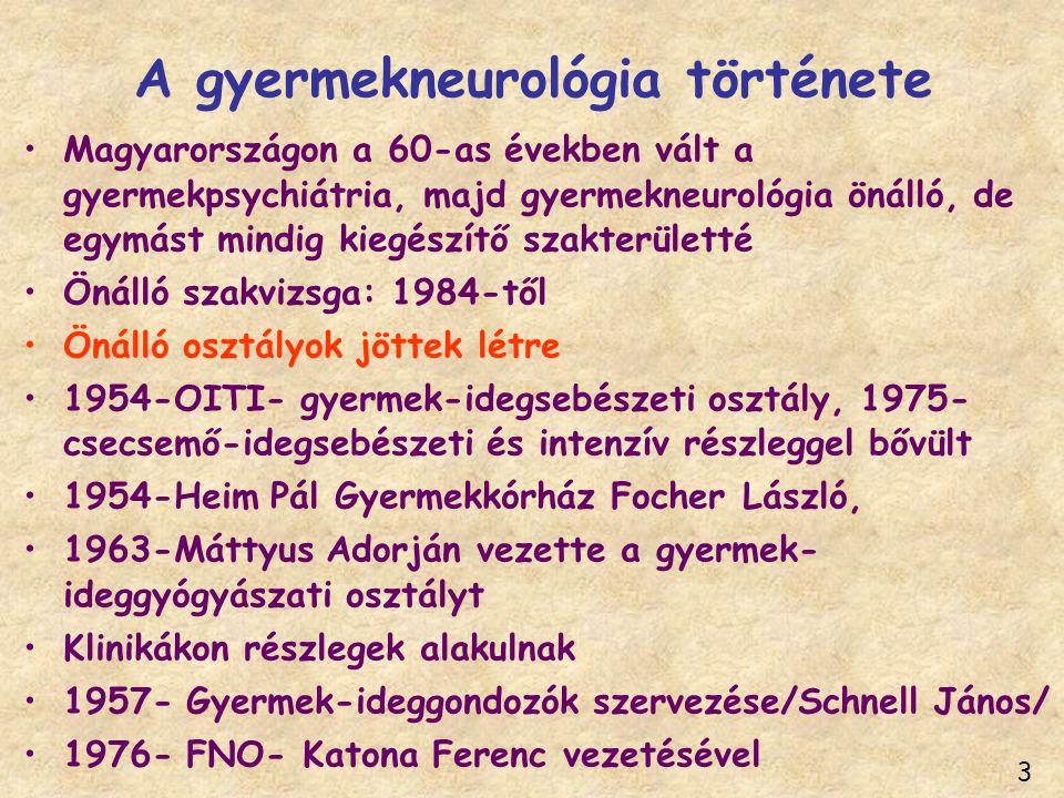 A gyermekneurológia története Magyarországon a 60-as években vált a gyermekpsychiátria, majd gyermekneurológia önálló, de egymást mindig kiegészítő sz