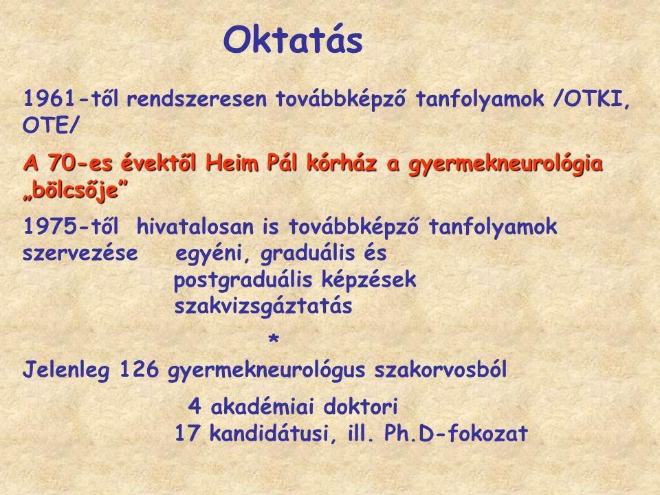 """1961-től rendszeresen továbbképző tanfolyamok /OTKI, OTE/ A 70-es évektől Heim Pál kórház a gyermekneurológia """"bölcsője"""" 1975-től hivatalosan is továb"""