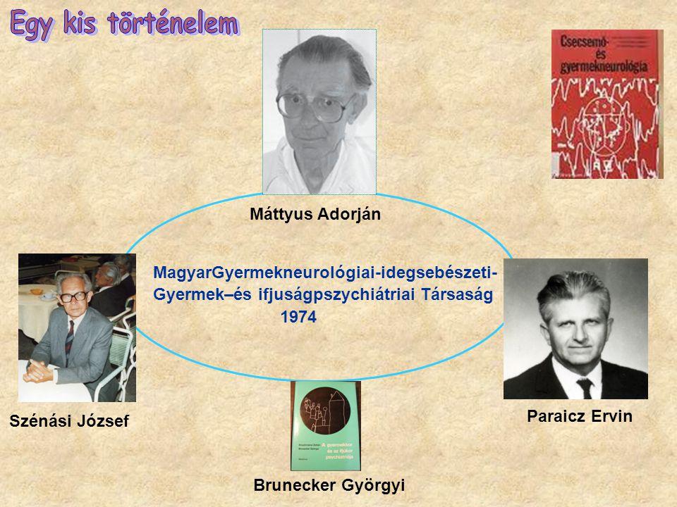 Máttyus Adorján Szénási József Paraicz Ervin Brunecker Györgyi MagyarGyermekneurológiai-idegsebészeti- Gyermek–és ifjuságpszychiátriai Társaság 1974