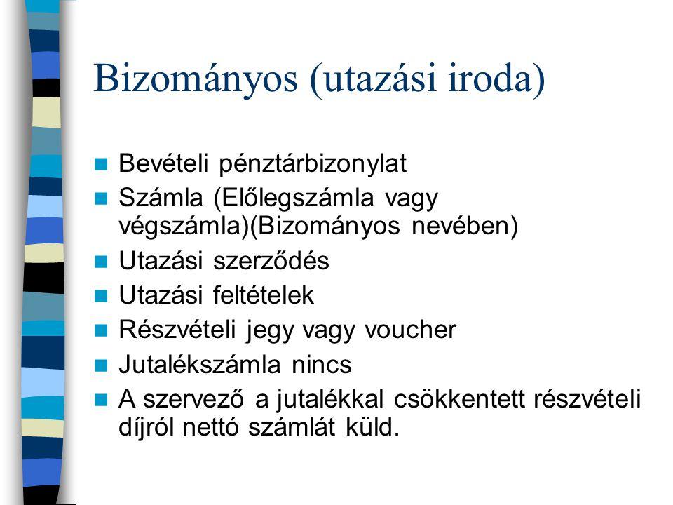 Bizományos (utazási iroda) Bevételi pénztárbizonylat Számla (Előlegszámla vagy végszámla)(Bizományos nevében) Utazási szerződés Utazási feltételek Rés