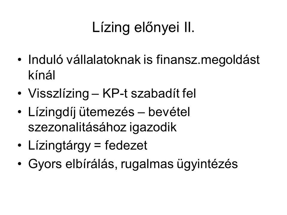Lízing előnyei II. Induló vállalatoknak is finansz.megoldást kínál Visszlízing – KP-t szabadít fel Lízingdíj ütemezés – bevétel szezonalitásához igazo