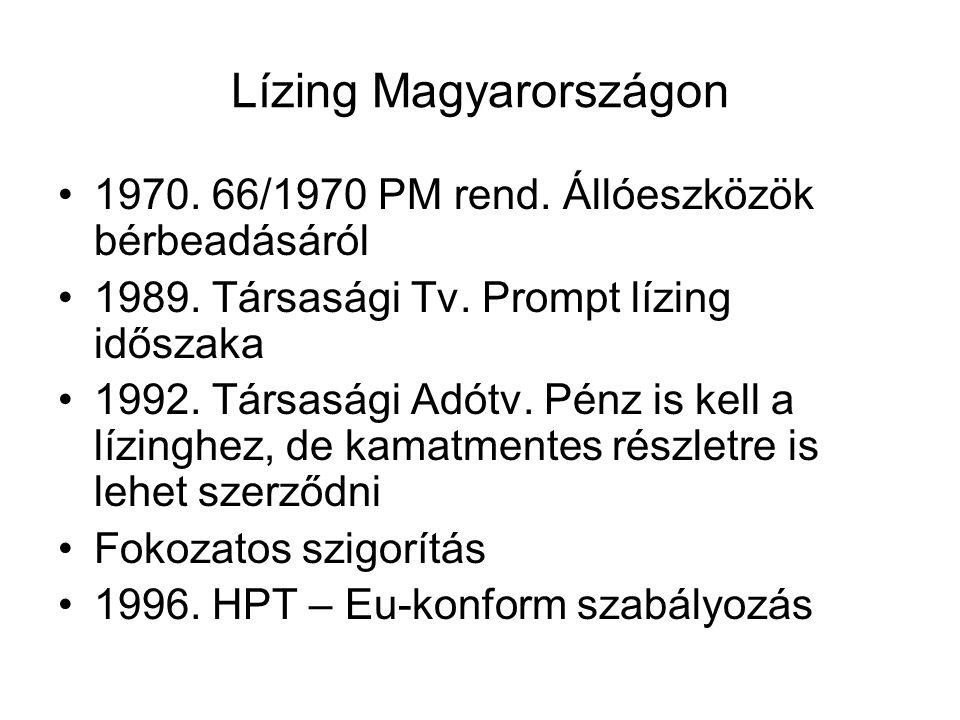 Lízing Magyarországon 1970. 66/1970 PM rend. Állóeszközök bérbeadásáról 1989. Társasági Tv. Prompt lízing időszaka 1992. Társasági Adótv. Pénz is kell