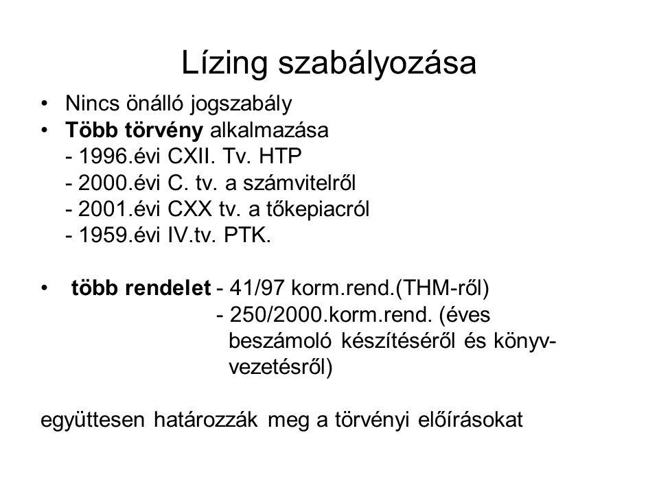 Lízing szabályozása Nincs önálló jogszabály Több törvény alkalmazása - 1996.évi CXII. Tv. HTP - 2000.évi C. tv. a számvitelről - 2001.évi CXX tv. a tő