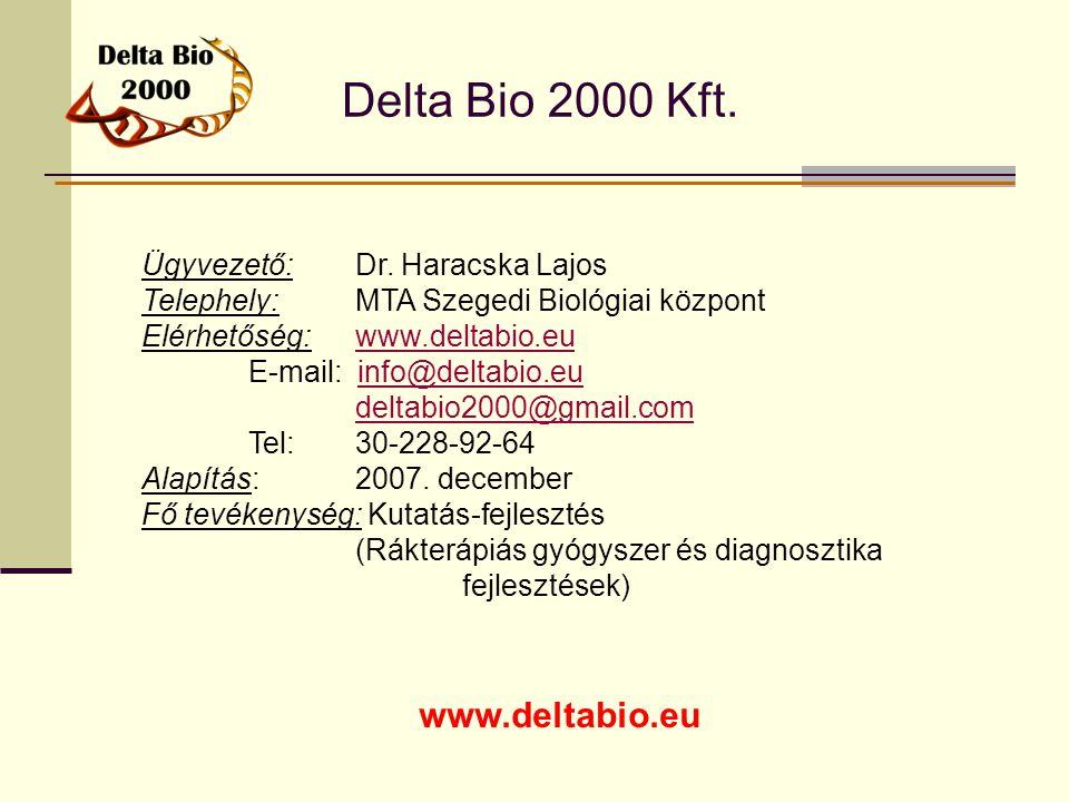 Delta Bio 2000 Kft. www.deltabio.eu Ügyvezető:Dr. Haracska Lajos Telephely: MTA Szegedi Biológiai központ Elérhetőség:www.deltabio.euwww.deltabio.eu E