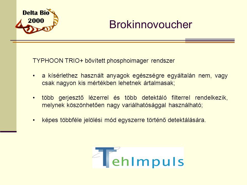 Brokinnovoucher TYPHOON TRIO+ bővített phosphoimager rendszer a kísérlethez használt anyagok egészségre egyáltalán nem, vagy csak nagyon kis mértékben