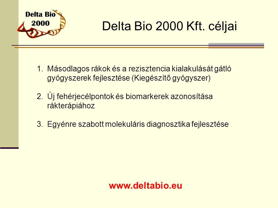 Delta Bio 2000 Kft. céljai www.deltabio.eu 1.Másodlagos rákok és a rezisztencia kialakulását gátló gyógyszerek fejlesztése (Kiegészítő gyógyszer) 2.Új