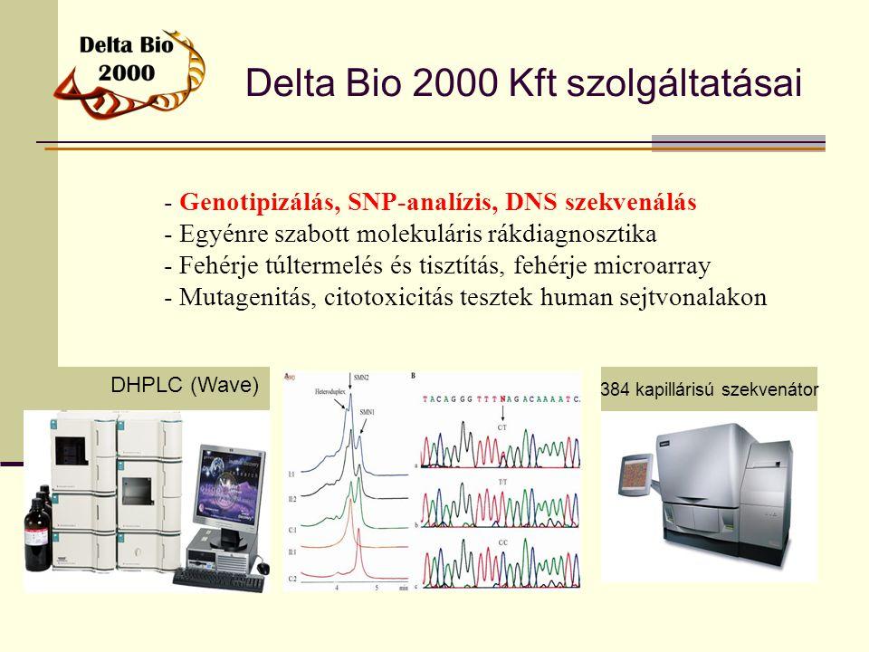 Delta Bio 2000 Kft szolgáltatásai - Genotipizálás, SNP-analízis, DNS szekvenálás - Egyénre szabott molekuláris rákdiagnosztika - Fehérje túltermelés é