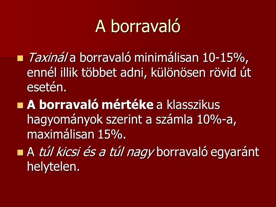 A borravaló Taxinál a borravaló minimálisan 10-15%, ennél illik többet adni, különösen rövid út esetén. Taxinál a borravaló minimálisan 10-15%, ennél