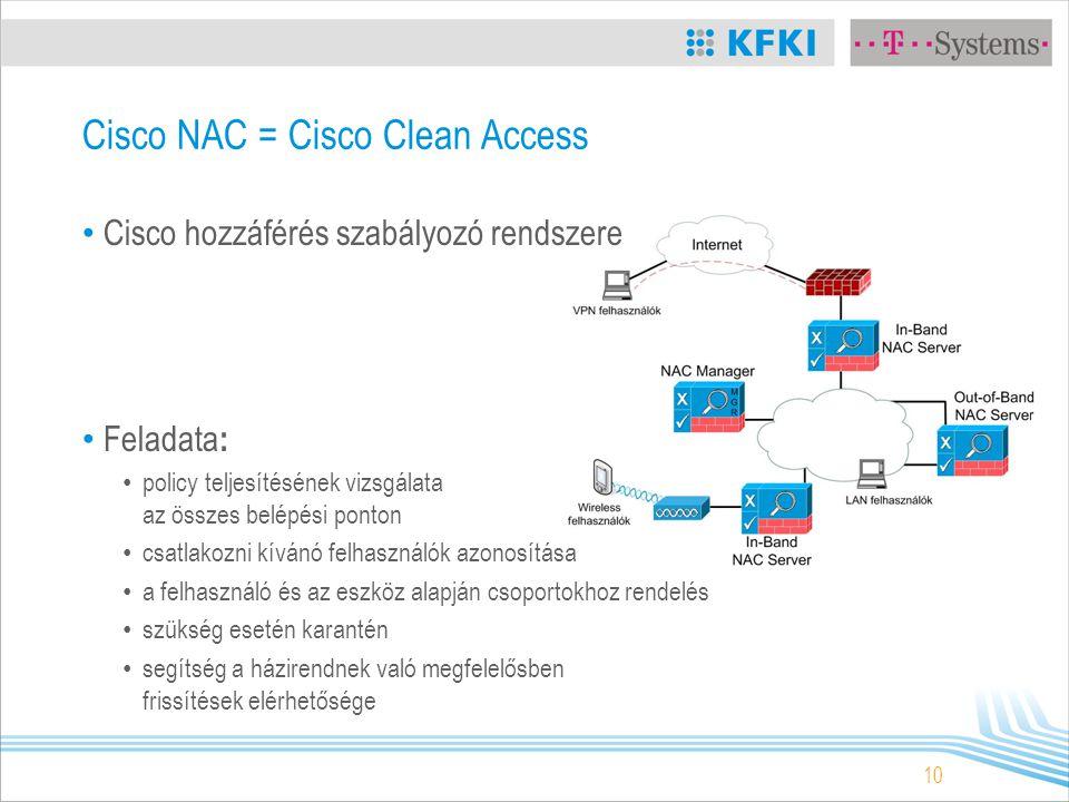 10 Cisco NAC = Cisco Clean Access Cisco hozzáférés szabályozó rendszere Feladata : policy teljesítésének vizsgálata az összes belépési ponton csatlakozni kívánó felhasználók azonosítása a felhasználó és az eszköz alapján csoportokhoz rendelés szükség esetén karantén segítség a házirendnek való megfelelősben frissítések elérhetősége