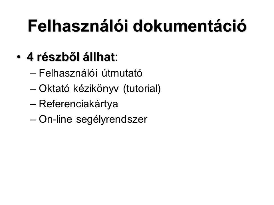 Felhasználói dokumentáció 4 részből állhat4 részből állhat: –Felhasználói útmutató –Oktató kézikönyv (tutorial) –Referenciakártya –On-line segélyrends