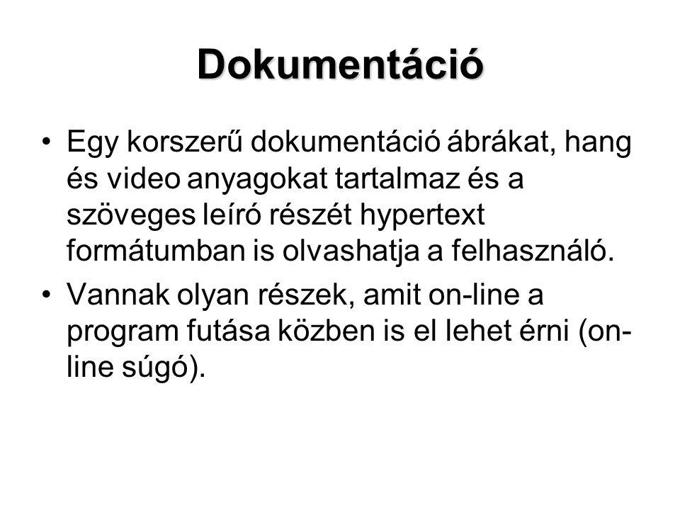 Dokumentáció Egy korszerű dokumentáció ábrákat, hang és video anyagokat tartalmaz és a szöveges leíró részét hypertext formátumban is olvashatja a fel