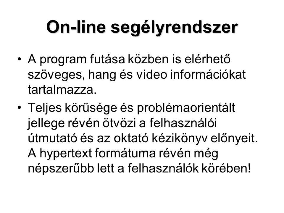 On-line segélyrendszer A program futása közben is elérhető szöveges, hang és video információkat tartalmazza. Teljes körűsége és problémaorientált jel