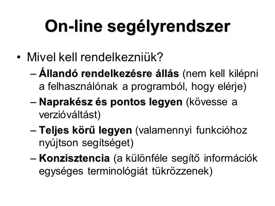 On-line segélyrendszer Mivel kell rendelkezniük? –Állandó rendelkezésre állás –Állandó rendelkezésre állás (nem kell kilépni a felhasználónak a progra