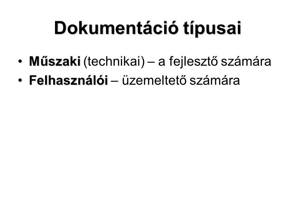 Dokumentáció típusai MűszakiMűszaki (technikai) – a fejlesztő számára FelhasználóiFelhasználói – üzemeltető számára