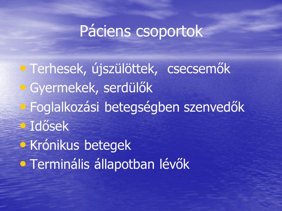 Páciens csoportok Terhesek, újszülöttek, csecsemők Gyermekek, serdülők Foglalkozási betegségben szenvedők Idősek Krónikus betegek Terminális állapotba