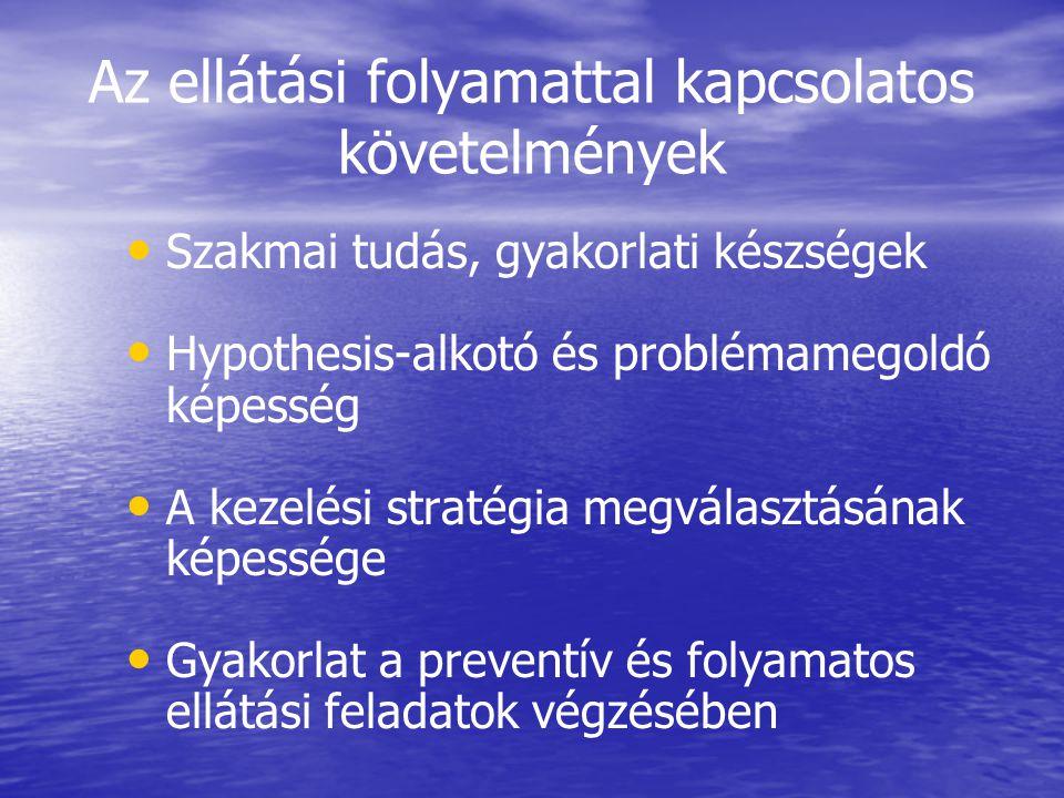 Az ellátási folyamattal kapcsolatos követelmények Szakmai tudás, gyakorlati készségek Hypothesis-alkotó és problémamegoldó képesség A kezelési stratég