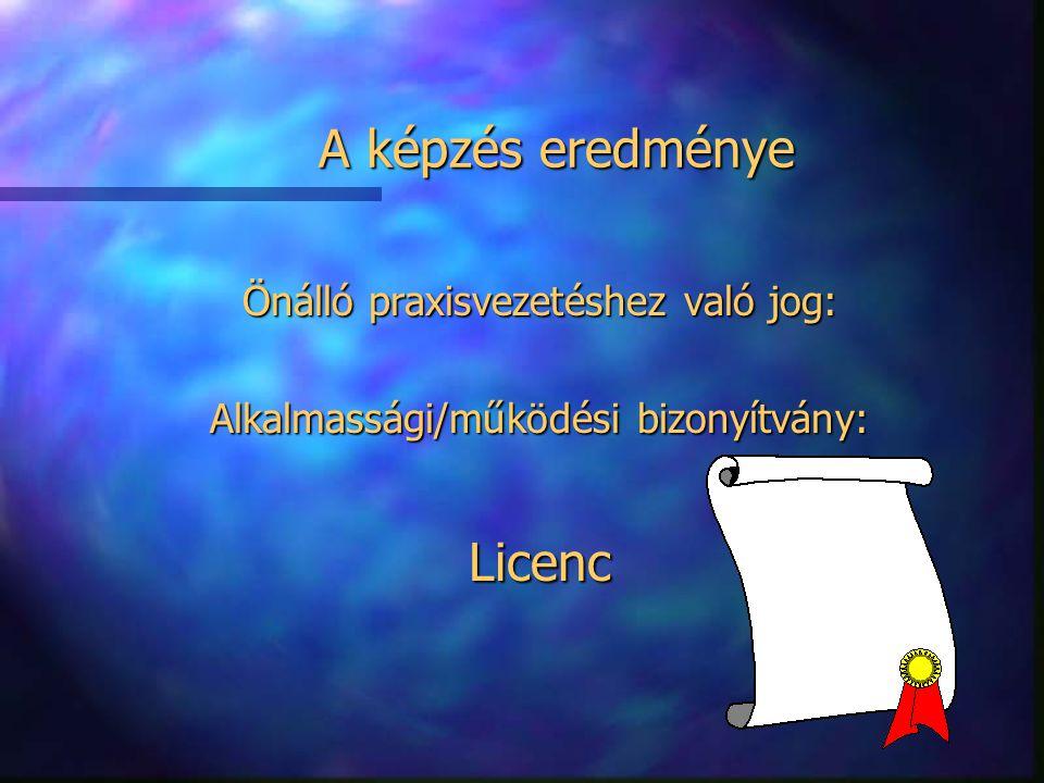 A képzés eredménye Önálló praxisvezetéshez való jog: Alkalmassági/működési bizonyítvány: Licenc