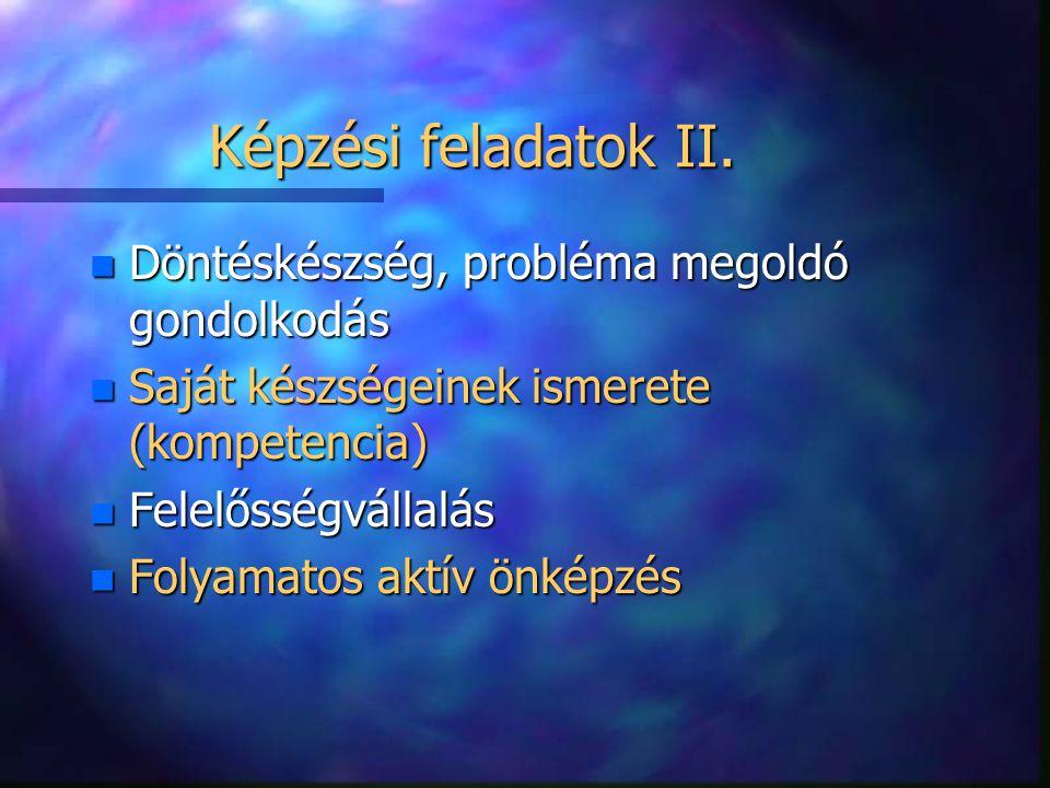 Képzési feladatok II. n Döntéskészség, probléma megoldó gondolkodás n Saját készségeinek ismerete (kompetencia) n Felelősségvállalás n Folyamatos aktí