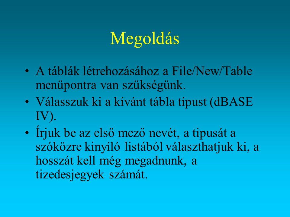Megoldás A táblák létrehozásához a File/New/Table menüpontra van szükségünk. Válasszuk ki a kívánt tábla típust (dBASE IV). Írjuk be az első mező nevé