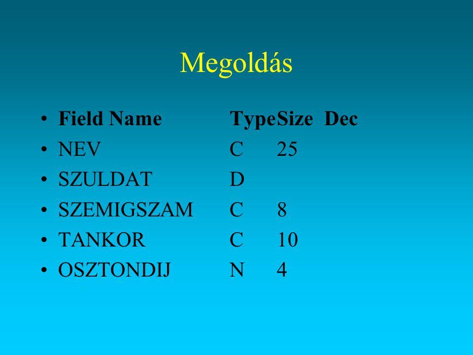 Megoldás Field NameTypeSizeDec NEVC25 SZULDATD SZEMIGSZAMC8 TANKORC10 OSZTONDIJN4