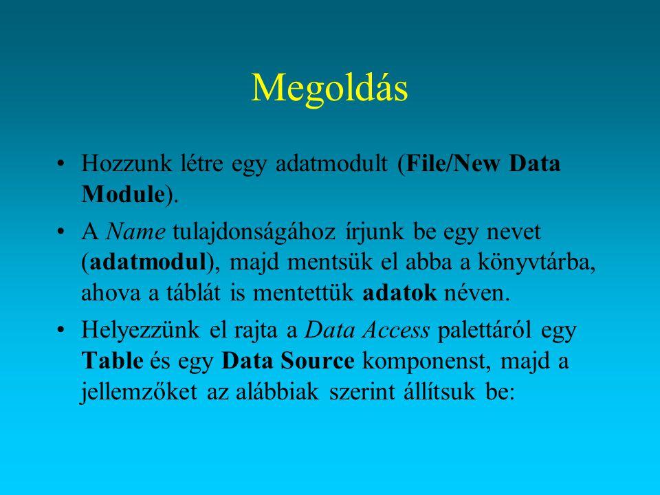 Megoldás KomponensJellemzőÉrték Table1Nametblhallgatok DatabaseNameora5 (az az álnév, amit létrehoztunk) TableNamehallgatók ActiveTrue (ilyenkor tervezés közben is látszanak az adatok) IndexNameNev (ami szerint rendezve szeretnénk látni az adatokat) DataSource1Namedsrhallgatok DataSettblhallgatok