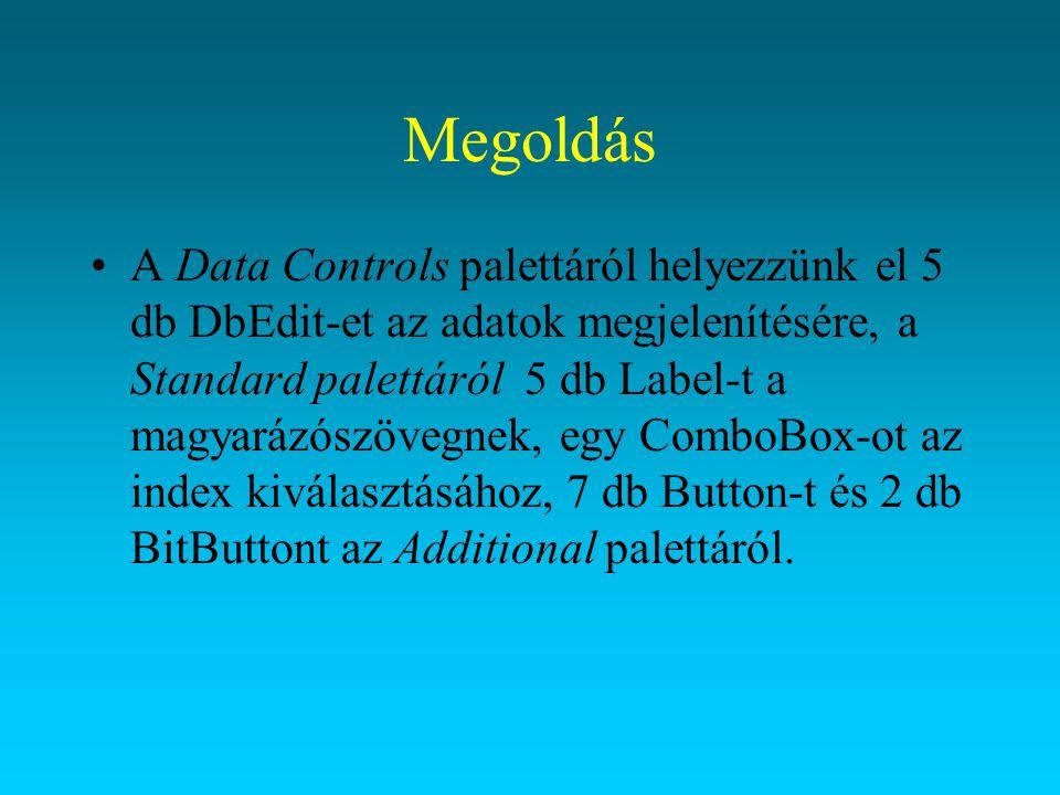 Megoldás KomponensJellemzőÉrték DBEdit1NameeNev DataSourceadatmodul.dsrhallgatok DataFieldNev EnabledFalse DBEdit2NameeSzuldat DataSourceadatmodul.dsrhallgatok DataFieldSzuldat EnabledFalse DBEdit3NameeSzemigszam DataSourceadatmodul.dsrhallgatok DataFieldSzemigszam EnabledFalse DBEdit4NameeTankor DataSourceadatmodul.dsrhallgatok DataFieldTankor EnabledFalse DBEdit5NameeOsztondij DataSourceadatmodul.dsrhallgatok DataFieldOsztondij EnabledFalse